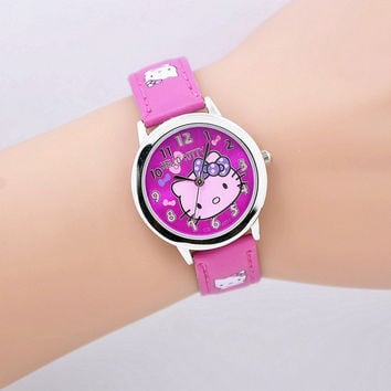 Free shipping fashion cartoon quartz watch Wristatch casual wear hello kitty rhinestone watch women girls kids high quality