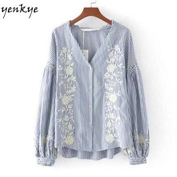 Autumn Women Floral Embroidery Striped Blouse Shirt Lantern Sleeve V Neck Loose Blouses Tops