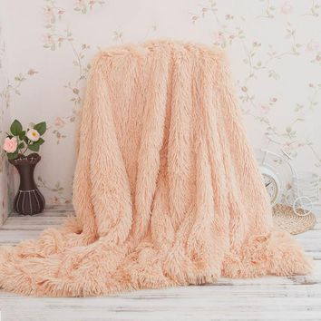 Soft Long Faux Fur Winter Wool White Fleece Blanket for Bed Sofa Cover Fluffy Rug Throw Couple Blanket Pink Bedspread