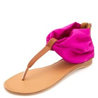 Qupid Chiffon Ankle Cuff Thong Sandals by Charlotte Russe - Magenta
