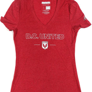 D.C. United Adidas ClimaCool Performance V Neck T Shirt Ladies Size S