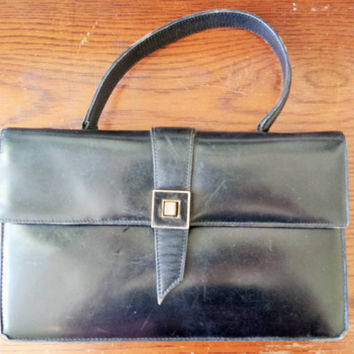 Vintage 1960s Saks Fifth Avenue Bag Made In France / 60s HandBag / 60s Black Leather Purse / Vintage Hand Bag / Vintage Kelly Bag