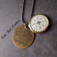 Compass Necklace Lost In The Right Direction - Hand Stamped Jewerly