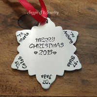 Hand Stamped Snowflake Christmas Ornament, Family Tree Ornament, Snowflake Ornament, Gift, Holiday Gift, Personalized Christmas Keepsake