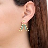 Pair of spike earring jackets, gold ear jacket earrings, with turquoise howlite, gold ear cuff jackets, front back earrings, double sided earcuffs handmade by Emmanuela