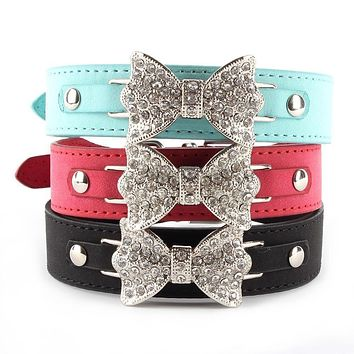 Dog Collar Bling Crystal Bow Leather Pet Collar Puppy Choker Cat Necklace XS S M