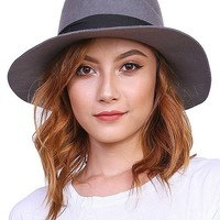 WOOL FELT FLOPPY HAT WITH WIDE BAND