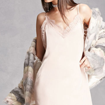 Lace-Trimmed Slip Dress