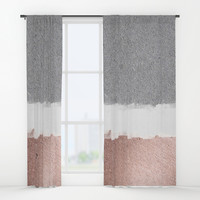 Concrete and rose gold Window Curtains by Printapix
