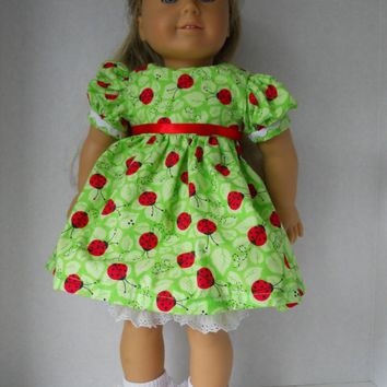 Doll Clothing for American Girl Doll 18 Inch Doll Clothes Green Ladybug Ensemble Shoe Set
