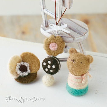 Japanese Needle Wool Felt DIY Kit - Kawaii Little Bear, Sweets Strap, Flower Felted Brooch - Hamanaka Felting - F05