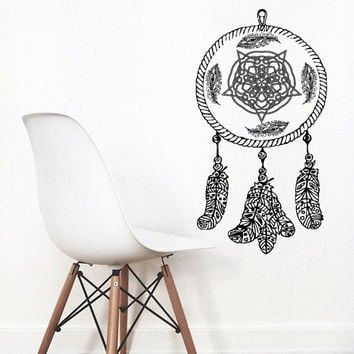 Wall Decals Dream Catcher Amulet Indian Mandala Floral Design Feather Yoga Gym Home Vinyl Decal Sticker Kids Nursery Baby Room Decor kk398