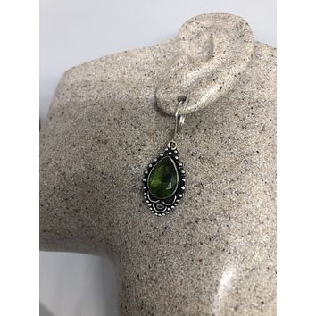 Antique vintage Green Peridot Silver dangle earrings