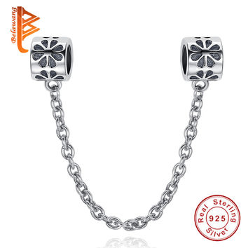 BELAWANG European 925 Sterling Silver Big Hole Daisy Safety Chain Charm Fit Original Pandora Bracelet
