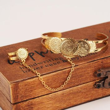 Bangrui Baby Coin Bracelet With Free Size Ring Gold Color Arab Coin Bangle for Kids Children Jewelry Middle Eastern Gifts