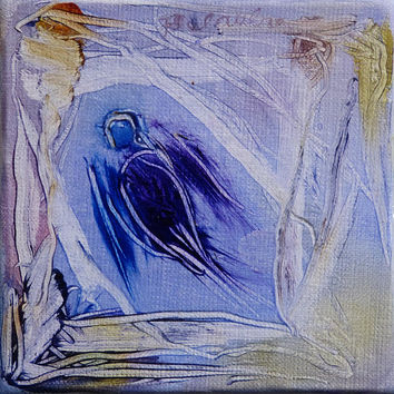 Little Bird in the Sky miniature oil painting on canvas framed and ready to hang great gift Christmas original art directly from atist