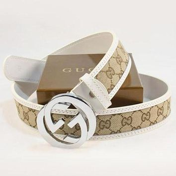 GUCCI Popular Woman Men Casual Smooth Buckle Belt Leather Belt I/A
