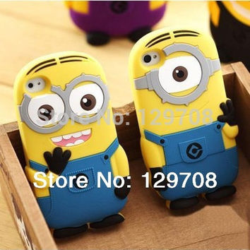 For iPhone 4 4G 4S 5 5S SE 5SE 5C 6 6S 7 Plus Soft Rubber Silicone 3D Cute Cartoon Despicable Me Minion Back Phone Cover Cases