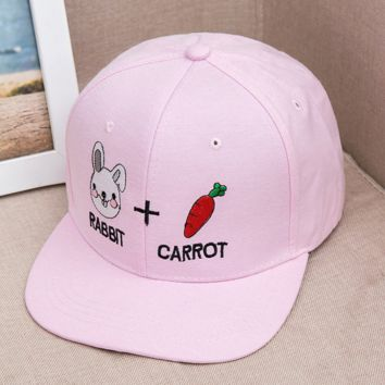 Pink Rabbit and Carrot Embroidered Baseball hat Hat