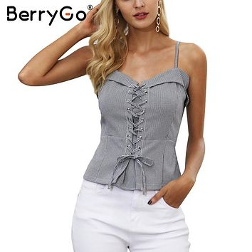 BerryGo Tie up zipper strap camisole tank top female Backless elastic casual cropped top women Streetwear skinny cami top