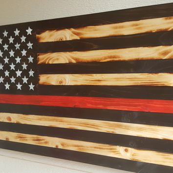 Thin Red Line Handcrafted Wooden American Flag