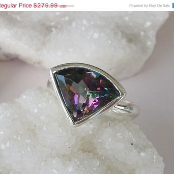 Sale Mystic Topaz Ring- Statement Ring- Unique Topaz Ring- Gifts for her- Fancy Shape Ring- Gemstone Ring- Rainbow Ring- Custom Size Ring