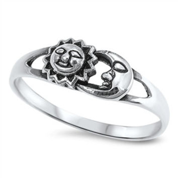 925 Sterling Silver Brother Sun & Sister Moon 6MM Ring
