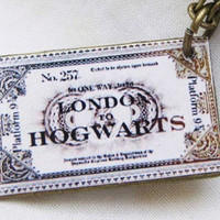 HARRY POTTER train ticket necklace by qizhouhuang on Etsy