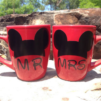 Mr Mrs Disney Mugs, Bride Groom Gift, Wedding Gift, Disney Mug, Mickey Ears Mug, Red Mug, Mugs with sayings, Mr Mrs Mugs