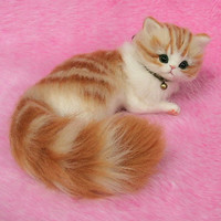 Needle Felted Cute Fluffy Kitten, Orange Tabby: Miniature Wool Felt Cat, Needle Felting
