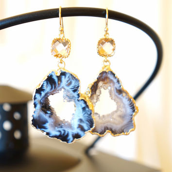 Glimmering Aurora Agate Geode Earrings, Agate Earrings, Agate Druzy Earrings, Agate Slice Earrings