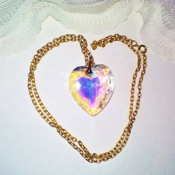 Vintage Swarovski Aurora Borealis Sparkling Crystal Heart Pendant Necklace Large Heart Valentine's Day Special Love Gift Jewelry Estate