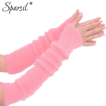 Women's Mink Cashmere Long Fingerless Gloves Thicken Solid Color Elbow Gloves Soft Warm Autumn Winter Women Fashion Mittens