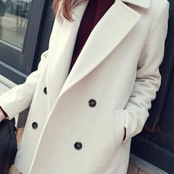 New White Pockets Turndown Collar Long Sleeve Elegant Coat