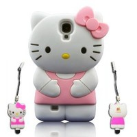 I Need's 3d Cute Soft Silicone Gel Hello Kitty Case Cover Protector Skin for Samsung Galaxy S4 SIV I9500 + 3d Hello Kitty Stylus Pen Pink
