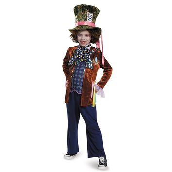 Deluxe Child Whimsy Mad Hatter Halloween Costume From Movie Through The Looking Glass Kids Alice In Wonderland Party Fancy-Dress