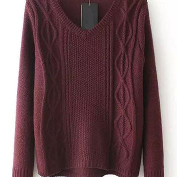 Burgundy V-Neck Cable Knit Sweater