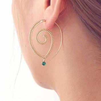 Enlightened Jewel Accented Spiral Hoop Earrings in Silver or Gold Tone