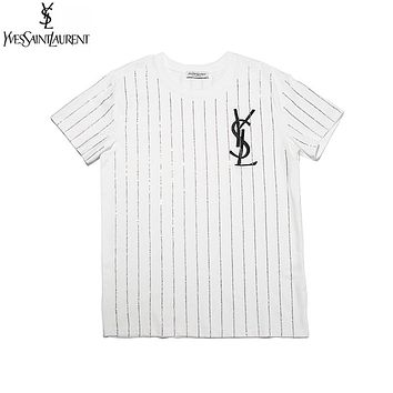 YSL Summer Hot Sale Woman Men Casual Chic Diamond Embroidery Tunic Shirt Top Blouse White