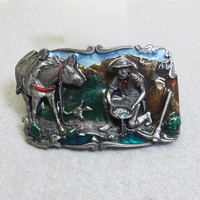 Siskiyou Pewter Gold Miner and Donkey Belt Buckle, Vintage, Enamel Accents