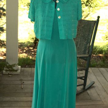 1990s Retro 1930s  Unique Vintage Gulf Ocean Green Rayon Dress with Size L Vintage Made in the USA