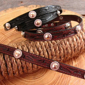Nickel Bullet Casing Studded Leather Cowboy Hat Band