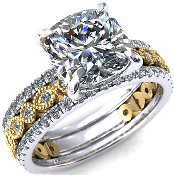Lizette Cushion Moissanite 4 Claw Prong 3/4 Eternity Milgrain Diamond Shank Engagement Ring