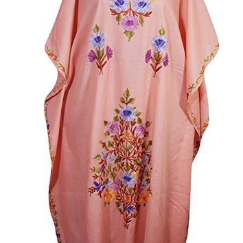 Mogul Womens Evening Kaftan Kashmiri Floral Embroidery Cotton Caftan Maxi Dress