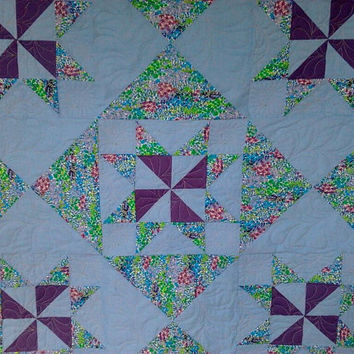 Baby Quilt Table Topper Wall Hanging  42 inches  by Whimbrella