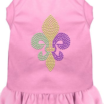 Mardi Gras Fleur De Lis Rhinestone Dress Light Pink XS (8)