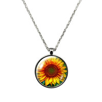I Love a Sunflower- Necklace Jewelry stainless steel casing crystal glass pendant with sunflower print.