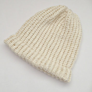 beanie hats, knitted beanie hats, knitted wool hats, knitted chunky beanie, hat toques, womens beanie hat, ivory cream beanies, woolly hats