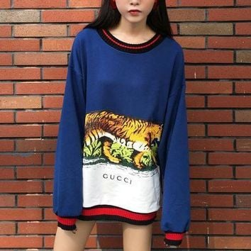 ICIKHI2 Gucci Long Sleeve Hooded Tank Print Tattoo Sweater Blue Tagre-