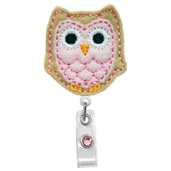 Cute Light Brown Pink Owl - Name Nurses Badge Holder - Cute Badge Reels - Unique  ID Badge Holder - Felt Badge - RN Badge Reel